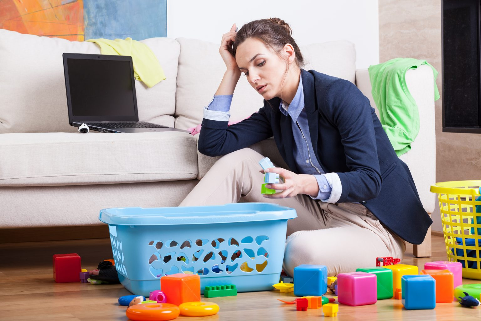 Woman, Overwhelmed, House, Toys, Maintenance